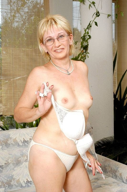 Mature granny wearing glasses