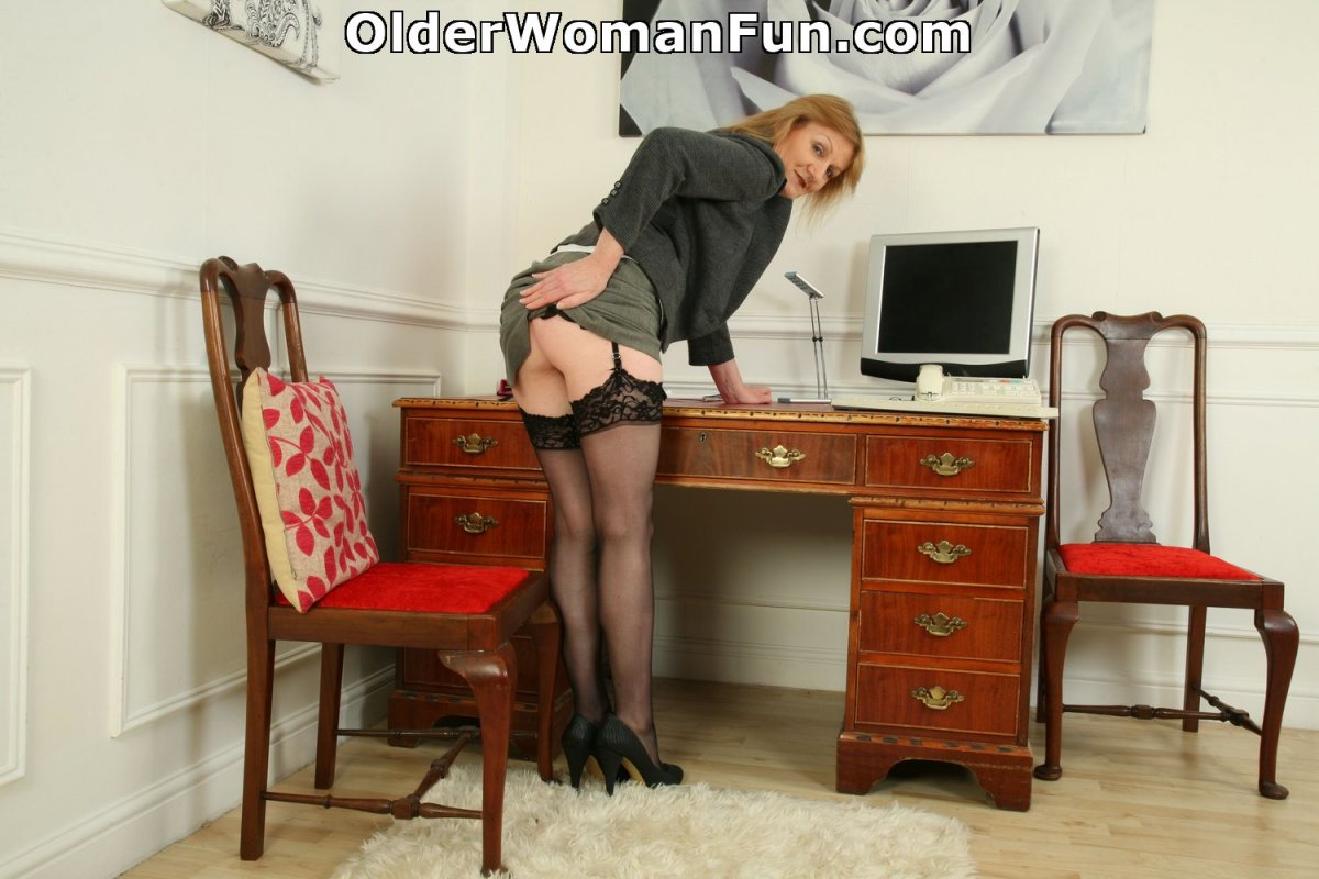 British milf clare strips off her secretary outfit and plays 7