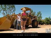 Picture Gorgeous blonde jogger takes two big-dicks i...