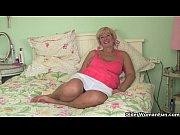British grandma Samantha lubes up her old pussy...