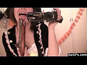 Hot brunette teen strips out of costume