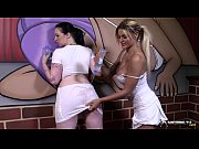 Two sexy lesbians going wild after wet t-shirt ...