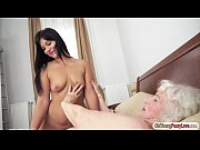 Teen Naomie and granny Norma are tasting each o...
