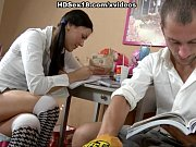 sex with a young brunette in a skirt