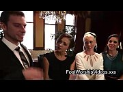 Guy worship feet to three secretaries