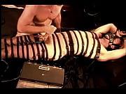 Electrostim balls in leather restraints.