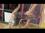 Pee fetish young beautie drinks her pee
