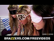 Three big booty teens are blindfolded and fucke...
