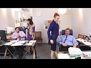 Horny teenagers seduce their old paps in a office