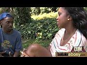 Ebony babe sucks too many white cocks 23