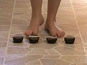 Foot Fetish - Sexy feet crushing chocolate cupc...