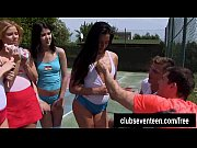 Four trashy teens fuck two guys on the tennis f...