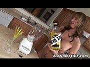 Mia Mckay drink smoothie from ass