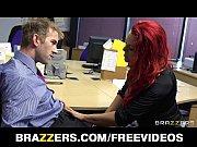 Busty redhead secretary is slammed by the bigge...