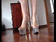 Slutty blond #039;s shoejob with her transparen...
