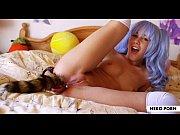 Alexis Crystal masturbates with butt plug tail