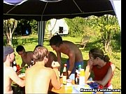 pretty gay twinks group garden humping