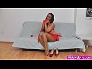 Leggy brunette tights and high heels