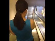Asian bitch on the escalator