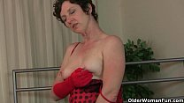 Mature mom works her hairy pussy