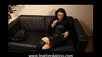 Milf in long leather skirt, leather boots and l...