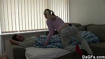 Cute pigtail blonde gets fucked by her boyfrien...