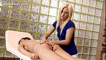 blonde masseuse making out with a sexy lesbian