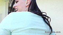 Shaved head girlfriend gets anal outdoor