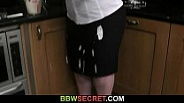 Lovely bbw cock riding action at the kitchen