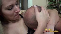 Viktoria uses her armpit and tits to smother slave