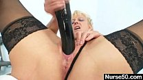dildo huge with pussy stuffing milf blonde Old