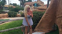 hot blonde kelley cabbana fingers pussy in public mini golf