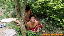 Gay ethnic twinks fuck and cum outdoors