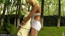 Tempting blonde shemale strips off in public an...