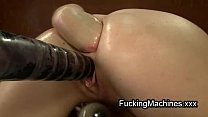 Hot brunette fucks machine and fists ass