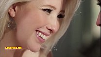 Hot and seductive brunette kissing blonde teen