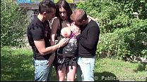 Cum on the face of beautiful pregnant Stella Fox in public gang bang threesome porn videos