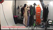 Gorgeous brunette with hot body in backstage