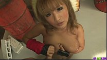 Petite and perky babe in boots gagging and shagged