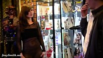 jeny shows her see through dress to a stranger