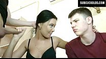 Russian wife cuckolds her submissive cuckold hu...