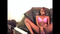 cute slim ebony with glasses play with dildo