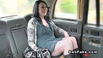 Brunette bangs thru pantyhose in fake taxi