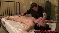 Gagged and tied sub in bdsm session with her ma...