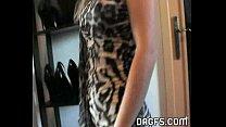Blonde MILF arousing striptease