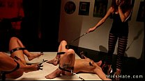 Hot tied up lesbians punished on the floor