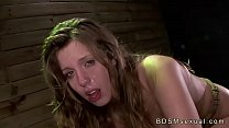 Tied to a crate on all four brunette babe pussy...