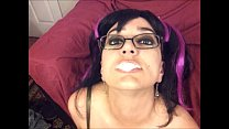 Epic cum gargle blowjob emo slut