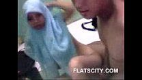 cute hijabi babe giving handjob to her BF and fucked in doggy porn videos