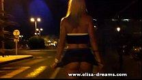 blonde slut walking no panties in the street